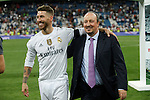 Real Madrid´s Sergio Ramos and Rafa Benitez after winning the Santiago Bernabeu Trophy at Santiago Bernabeu stadium in Madrid, Spain. August 18, 2015. (ALTERPHOTOS/Victor Blanco)