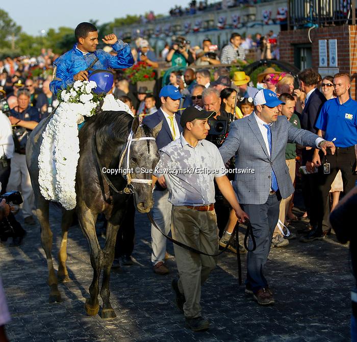 June 5, 2021: Essential Quality, #2, ridden by jockey Luis Saez, wins the Belmont Stakes on Belmont Stakes Day at the Belmont Stakes Festival at Belmont Park in Elmont, New York. Sue Kawczynski/Eclipse Sportswire/CSM