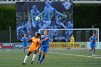 Anita Asante (5) of Sky Blue FC and Amy Rodriguez (8) of the Boston Breakers. Sky Blue FC defeated the Boston Breakers 2-1 during a WPS regular season match at Harvard Stadium in Boston, MA, on July 12, 2009.