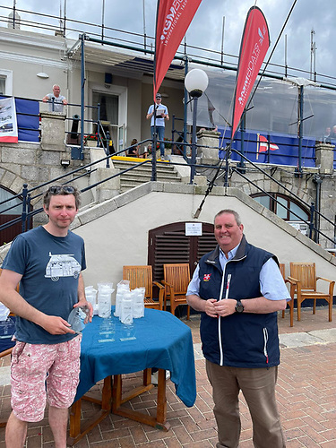 Irish Laser Master Champion (standard rig) Paul McMahon of Howth is congratulated by Royal St. George Yacht Club Commodore Richard O'Connor