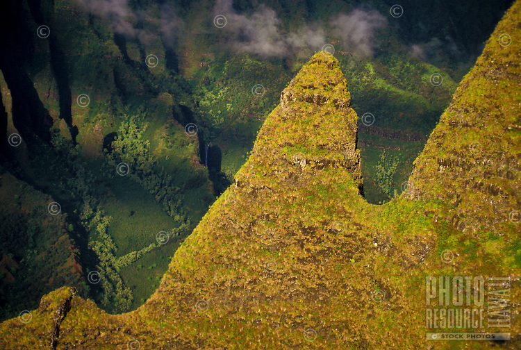 Spires of Kalalau Valley, Na Pali Coast State Park, late afternoon light, aerial photo.