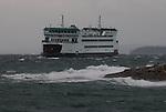 Puget Sound, Washington State Ferry, MV Salish, arriving, Coupeville, winter storm, rough seas, November 24 2016, Admiralty Inlet, Keystone, Salish Sea, Washington State, Pacific Northwest, USA,