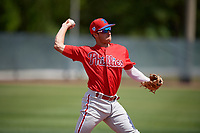 Philadelphia Phillies Jose Gomez (3) during a Minor League Spring Training game against the Toronto Blue Jays on March 29, 2019 at the Carpenter Complex in Clearwater, Florida.  (Mike Janes/Four Seam Images)