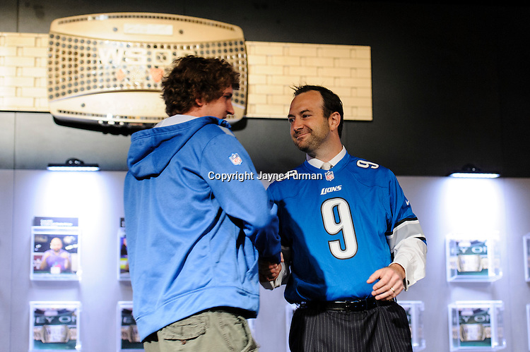 Ty Stewart greets Ryan Riess at Ryan's banner unveiling