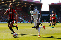Nathan Dyer of Swansea City is marked by Steve Cook of Bournemouth during the Premier League match between AFC Bournemouth and Swansea City at Vitality Stadium in Bournemouth, England, UK. Saturday 05 May 2018
