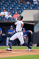 Toledo Mud Hens Kody Clemens (23) hits an infield single during a game against the St. Paul Saints on August 26, 2021 at Fifth Third Field in Toledo, Ohio.  (Mike Janes/Four Seam Images)
