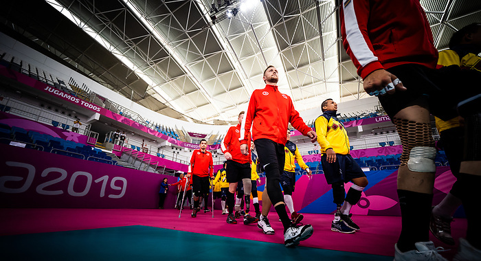 Lima 2019 - Sitting Volleyball // Volleyball assis.<br /> Canada competes for the bronze medal in men's Sitting Volleyball // Canada participe pour la médaille de bronze en volleyball assis masculin. 28/08/2019.