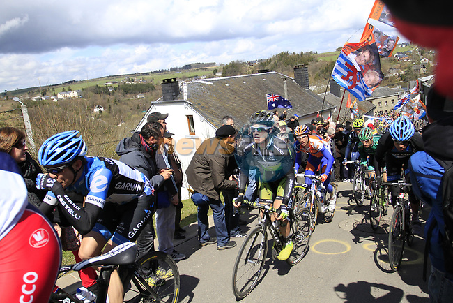 The peloton climb Cote de Saint-Roch during the 98th edition of Liege-Bastogne-Liege, running 257.5km from Liege to Ans, Belgium. 22nd April 2012.  <br /> (Photo by Eoin Clarke/NEWSFILE).