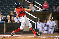 Pawtucket Red Sox infielder Jonathan Hee #12 hits a single during game four of a best of five playoff series against the Empire State Yankees at Frontier Field on September 8, 2012 in Rochester, New York.  Pawtucket defeated Empire State 7-1 to advance to the International League Finals.  (Mike Janes/Four Seam Images)