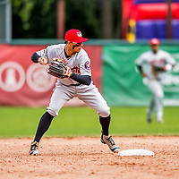 25 July 2017: Tri-City ValleyCats infielder Miguelangel Sierra in action against the Vermont Lake Monsters at Centennial Field in Burlington, Vermont. The Lake Monsters defeated the ValleyCats 11-3 in NY Penn League action. Mandatory Credit: Ed Wolfstein Photo *** RAW (NEF) Image File Available ***