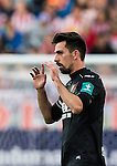 Isaac Cuenca of Granada CF celebrates during their La Liga match between Atletico de Madrid and Granada CF at the Vicente Calderon Stadium on 15 October 2016 in Madrid, Spain. Photo by Diego Gonzalez Souto / Power Sport Images