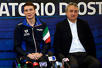 Manuel Bortuzzo with the president of FIN Paolo Barelli<br /> Rome March 13th 2019. Manuel Bortuzzo, promising swimmer who was shot in front of a nightclub, returns to his swimming pool at Ostia Federal Swimming Centre. The 19 years old guy was shot by mistake in front of a nightclub last February 2nd and is paralysed from the waist down since then. <br /> Foto Samantha Zucchi Deepbluemedia/ Insidefoto