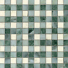 Bonnie, a stone mosaic field shown in Bianco Antico, Kay's Green and Wujan Jade.