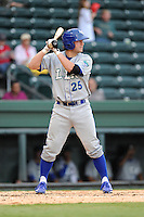 Catcher Cameron Gallagher (25) of the Lexington Legends in a game against the Greenville Drive on Sunday, August 18, 2013, at Fluor Field at the West End in Greenville, South Carolina. Gallagher is the No. 15 prospect of the Kansas City Royals and was a second-round pick in the 2011 First-Year Player Draft. Greenville won Game 2 of a doubleheader, 1-0. (Tom Priddy/Four Seam Images)