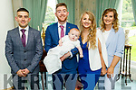 The christening of Joshua Wray Cremins from Castleisland in the Ballyseede Castle Hotel on Sunday. L to r: Damien Cremins (GF), Jamie Cremins, baby Joshua, Emma Wray and Alison Wray (GM).