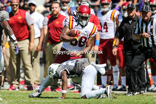 Iowa State Cyclones tight end Justin Chandler (88) in action during the game between Iowa State Cyclones and the TCU Horned Frogs at the Amon G. Carter Stadium in Fort Worth, Texas.