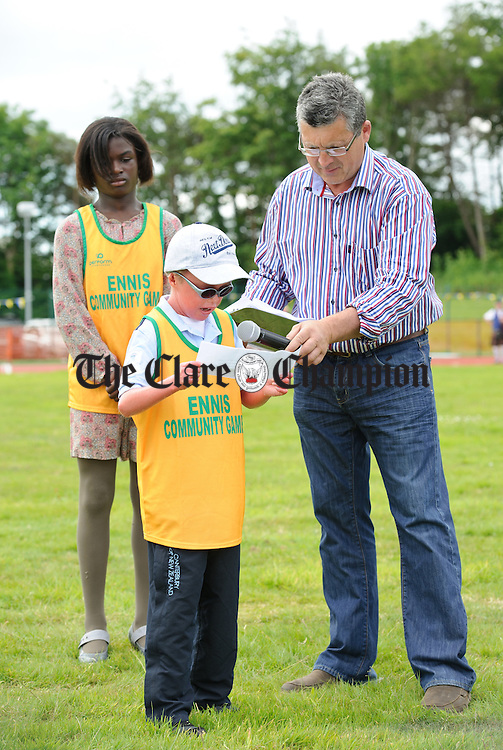 David Falconer reading the Community Games oath at the  Clare Community Games Athletic Finals in Lees Road, Ennis. photograph by John Kelly.