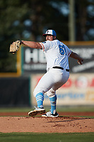 Burlington Sock Puppets starting pitcher Sergio Patsy (61) (Guilford Tech) in action against the Bluefield Ridge Runners at Burlington Athletic Park on June 8, 2021 in Burlington, North Carolina. (Brian Westerholt/Four Seam Images)