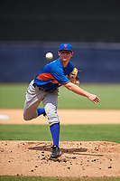Pitcher Tanner Burns (5) of Decatur High School in Decatur, Georgia playing for the New York Mets scout team during the East Coast Pro Showcase on July 30, 2015 at George M. Steinbrenner Field in Tampa, Florida.  (Mike Janes/Four Seam Images)