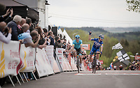 Julian ALAPHILIPPE (FRA/Deceuninck-Quick Step) wins his 2nd, consecutive Flèche up the infamous Mur de Huy<br />