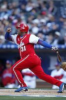 Yoandy Garlobo of the Cuban national team during game against the Dominican Republic team during the World Baseball Championships at Petco Park in San Diego,California on March 18, 2006. Photo by Larry Goren/Four Seam Images