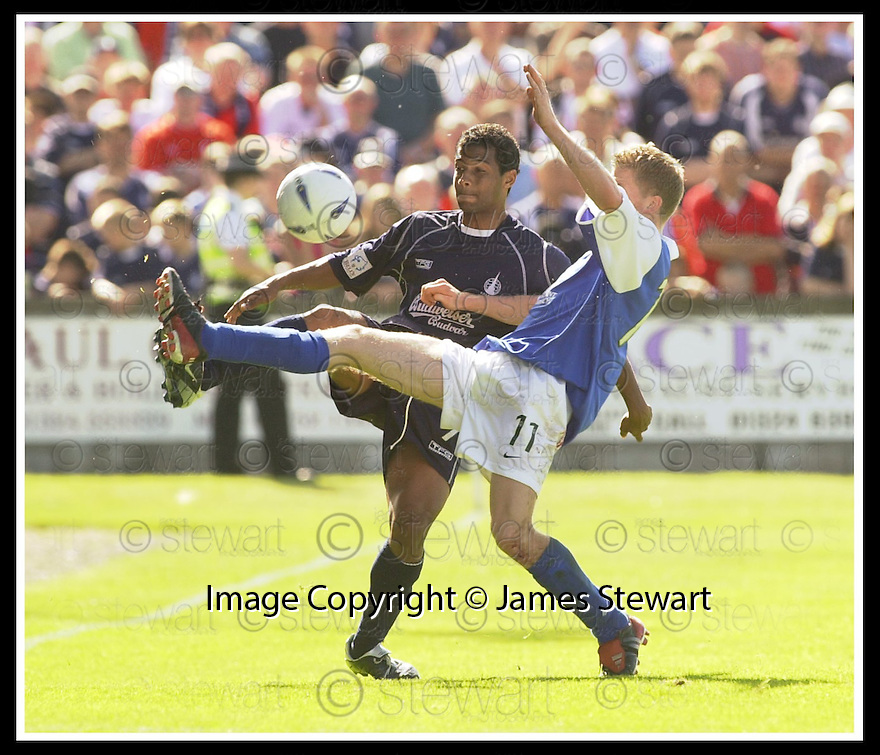 23/08/2003                   Copyright Pic : James Stewart.File Name : stewart-falkirk v qots 11.FALKIRK'S BRENT RAHIM AND WILLIE GIBSON CHALLENGE FOR THE BALL......James Stewart Photo Agency, 19 Carronlea Drive, Falkirk. FK2 8DN      Vat Reg No. 607 6932 25.Office     : +44 (0)1324 570906     .Mobile  : +44 (0)7721 416997.Fax         :  +44 (0)1324 570906.E-mail  :  jim@jspa.co.uk.If you require further information then contact Jim Stewart on any of the numbers above.........
