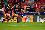 Diego Costa of Atletico de Madrid (R) fights for the ball with Ruben Miguel Nunes Vezo of Valencia CF (C) during the La Liga 2017-18 match between Atletico de Madrid and Valencia CF at Wanda Metropolitano on February 04 2018 in Madrid, Spain. Photo by Diego Souto / Power Sport Images