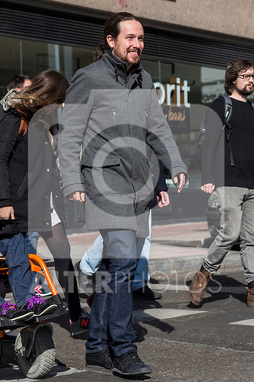 Spanish Podemos member Pablo Iglesias after the meeting between members of the canopy of Podemos to seek unity between the different proposals in Madrid. Spain. January 25th 2017. (ALTERPHOTOS/Rodrigo Jimenez)