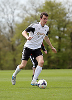 Pictured: Danny McGowan. Tuesday 06 May 2014<br /> Re: Members of the local press play football against Swansea City FC coaches and members of staff at the Club's training ground in Fairwood, south Wales.
