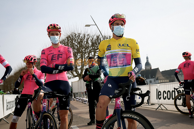 Race leader Yellow Jersey Stefan Bissegger (SUI) EF Education-Nippo lines up for the start of Stage 4 of Paris-Nice 2021, running 187.5km from Chalon-sur-Saone to Chiroubles, France. 10th March 2021.<br /> Picture: ASO/Fabien Boukla | Cyclefile<br /> <br /> All photos usage must carry mandatory copyright credit (© Cyclefile | ASO/Fabien Boukla)