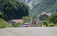 the breakaway group on their way to the HC climb<br /> <br /> stage 7: Aoste > Alpe d'Huez (168km)<br /> 69th Critérium du Dauphiné 2017