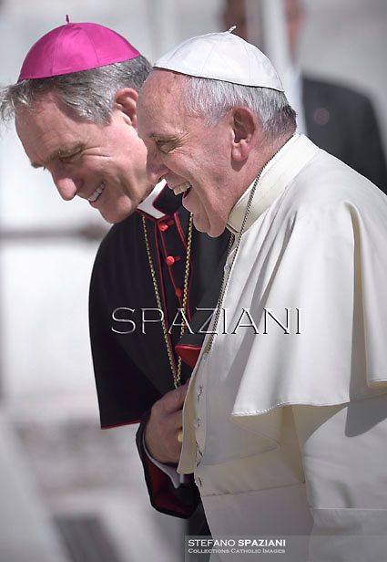 Monsignor Georg Gaenswein.Pope Francis during his weekly general audience in St. Peter square at the Vatican, Wednesday. September 3, 2014.