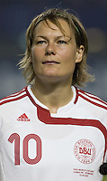 Denmark midfielder (10) Anne Dot Eggers Nielsen. The Peoples Republic of China (CHN) defeated Denmark (DEN) 3-2 during their FIFA Women's World Cup China 2007 opening round Group D match at Wuhan Sports Center Stadium in Wuhan, China on September 12, 2007.