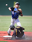 Basic's David Hudleson turns a double play over Galena's Sami Baig during NIAA DI baseball action at Bishop Manogue High School, in Reno, Nev., on Friday, May 20, 2016. Basic won 7-3 to advance to the championship. Cathleen Allison/Las Vegas Review-Journal
