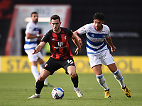 17th October 2020; Vitality Stadium, Bournemouth, Dorset, England; English Football League Championship Football, Bournemouth Athletic versus Queens Park Rangers; Lewis Cook of Bournemouth holds off Macauley Bonne of Queens Park Rangers