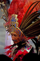 Man in traditional headdress to celebrate the Day of the Virgin of Guadalupe on December 12th in Mexico City, Mexico.