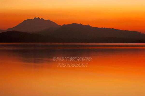 Sunset over lake of zug, Zug, Switzerland