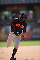 San Jose Giants designated hitter Jean Angomas (46) during a California League game against the Stockton Ports on April 9, 2019 in Stockton, California. San Jose defeated Stockton 4-3. (Zachary Lucy/Four Seam Images)