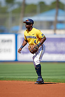 Michigan Wolverines second baseman Ako Thomas (4) during a game against Army West Point on February 17, 2018 at Tradition Field in St. Lucie, Florida.  Army defeated Michigan 4-3.  (Mike Janes/Four Seam Images)