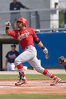 First baseman Osvaldo Morales (37) of the Johnson City Cardinals follows through on his solo home run in the 2nd inning at Dan Daniels Park in Danville, VA, Sunday July 27, 2008.