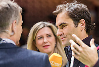 Rotterdam, The Netherlands, 18 Februari, 2018, ABNAMRO World Tennis Tournament, Ahoy, Singles final,   The winner of the 45th ABNAMROWTT  Roger Federer (SUI) is interviewed by Kristy Boogert  and Jan Siemerink from Ziggo Sport TV<br /> Photo: www.tennisimages.com/henkkoster