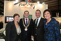 NO FEE PICTURES.25/1/13 Maureen Ledwith, Director Holiday World, Lord Mayor of Dublin is Naoise Ó Muirí and Clare Dunne, President ITAA with Tolga at the Holiday World Show at the RDS, Dublin. Picture:Arthur Carron/Collins