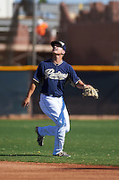 San Diego Padres Josh VanMeter (1) during an instructional league game against the Texas Rangers on October 9, 2015 at the Surprise Stadium Training Complex in Surprise, Arizona.  (Mike Janes/Four Seam Images)