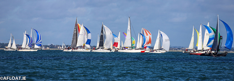 The 41-boat Kish Race fleet depart Dun Laoghaire at the start of the 2021 edition