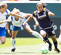 LA Sol's Marta moves past Boston Breakers Heather Mitts (l) and Sue Weber (r). The Boston Breakers and LA Sol played to a 0-0 draw at Home Depot Center stadium in Carson, California on Sunday May 10, 2009.   .