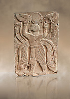 Pictures & images of the North Gate Hittite sculpture stele depicting a winged bird God. 8the century BC.  Karatepe Aslantas Open-Air Museum (Karatepe-Aslantaş Açık Hava Müzesi), Osmaniye Province, Turkey. Against art background