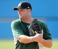 July 16, 2009: Infielder Matt Hague (13) of the Lynchburg Hillcats, Carolina League affiliate of the Pittsburgh Pirates, before a game at G. Richard Pfitzner Stadium in Woodbridge, Va. Photo by: Tom Priddy/Four Seam Images