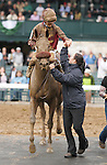 October 03, 2014: Peace and War and jockey Julien Leparoux win the 63rd running of the Darley Alcibiades Grade 1 $400,000 Win and You're In Juvenile Fillies Division at Keeneland Racecourse for owner Qatar Racing and trainer Olly Stevens.    Candice Chavez/ESW/CSM