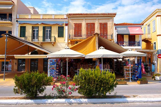 Typical port buildings of Aegins, Greek Saronic Islands