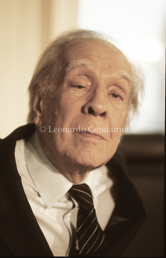 Milan, Italy 1985. Jorge Luis Borges, Argentine writer and poet born in Buenos Aires. One of the most influent writers of the XX Century. Famous for his fantastic tales, where he conjugates philosophical and metaphysical ideas with the classical themes of fantastic (double, parallel reality of dream, temporal sliding).  Leonardo Cendamo
